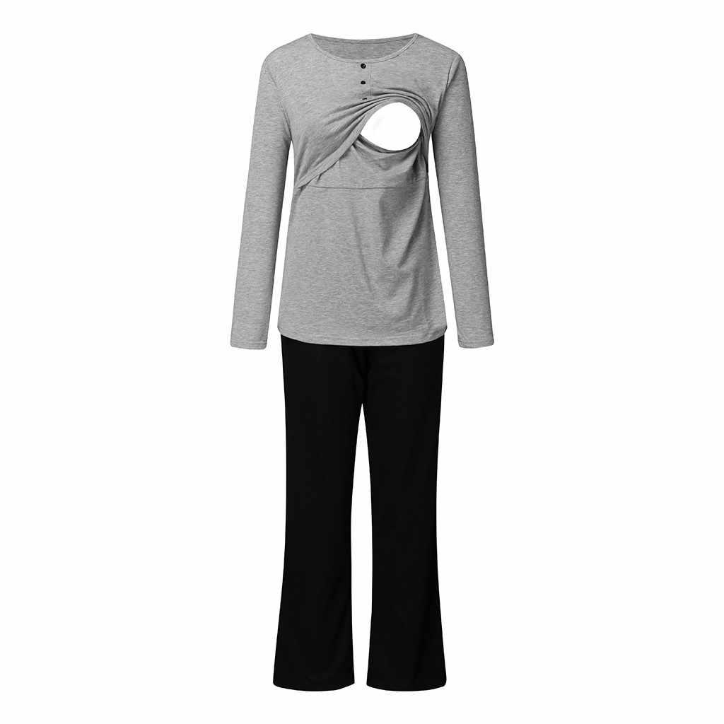 ARLONEET vrouwen moederschap Pyjama tops + Broek Set Pak zwangerschap Verpleging slaap homewear voor borstvoeding zwangere doek CN06