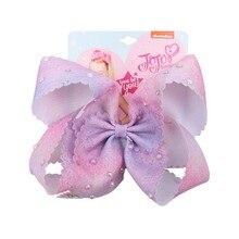 7 Jumbo JOJO Siwa Large Tie Dyeing Hair Bows With Pearls Rhinestone Clips Fashion Accessories