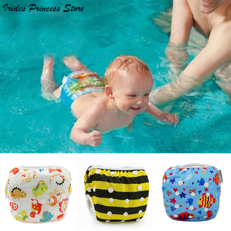 New Unisex One Size Waterproof Adjustable Swim Diaper Pool Pant 10-40 Lbs Swim Diaper Baby Reusable Washable Pool Cover 30 Color
