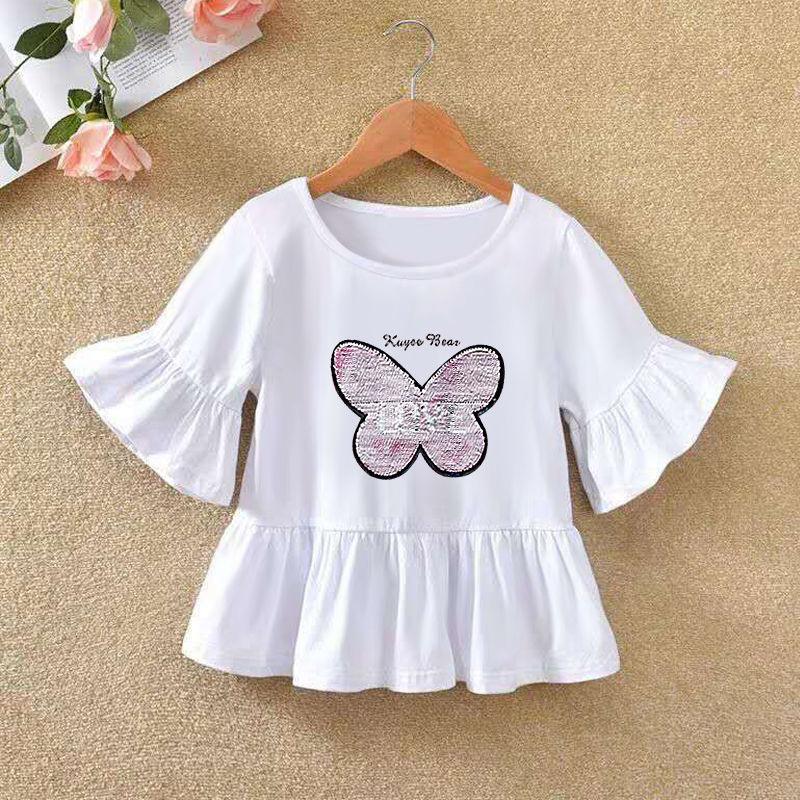 VIDMID 2021 Girls' Long Sleeve T-shirt O-neck Ruffle Cartoon Pattern Baby Girl Top T-shirt Autumn Children's Clothing P72 1