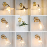 Modern Brass Metal Bedroom Bedside Wall Lamp Concise Vintage Glass Cover Mirror Aisle Study Cloakroom Wall Sconces