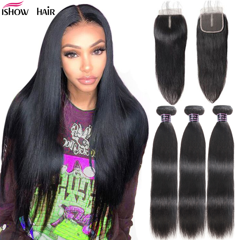 Ishow Hair Straight Hair Bundles With Closure Peruvian Hair Bundles With Closure 100% Human Hair Bundles With Closure Non-Remy