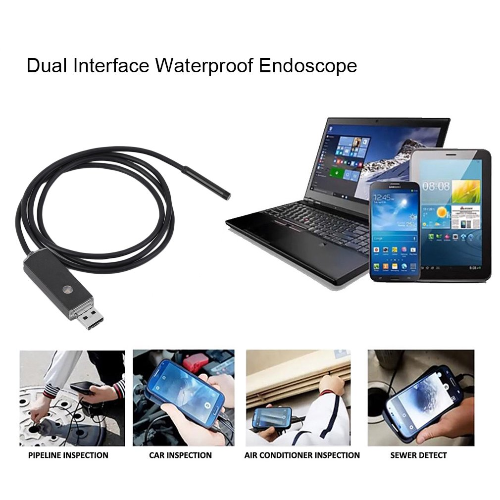 5.5MM Lens Diameter 1M  2 In 1 Dual Interface USB Waterproof Endoscope USB Inspection LED Borescope For Android