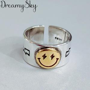 DreamySky Punk Vintage Smile Face Rings For Women Boho Female Charms Jewelry Men Antique