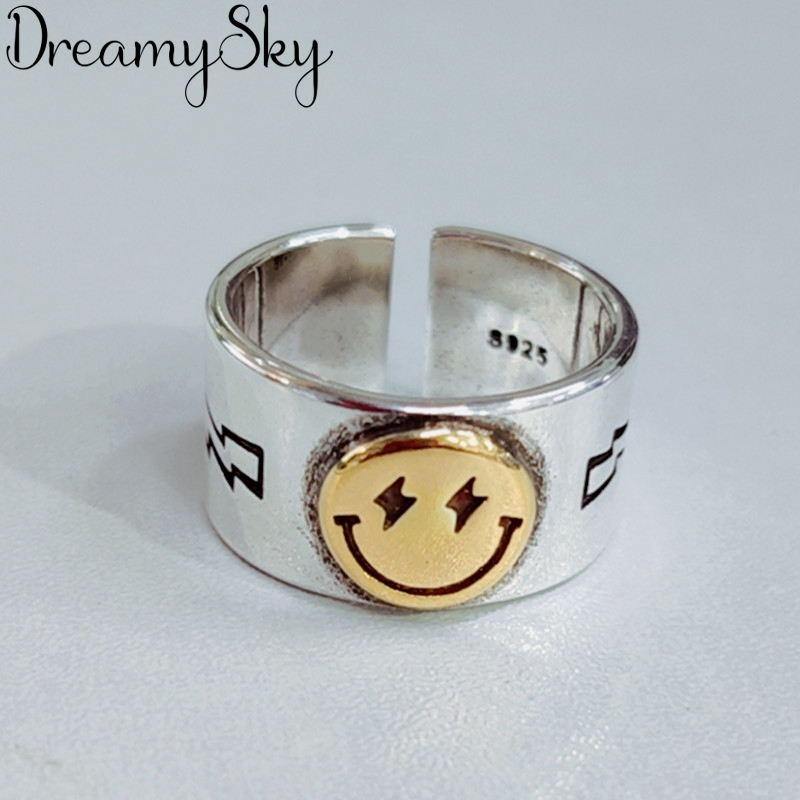 DreamySky Punk Vintage Smile Face Rings dla kobiet Boho kobieta piękna biżuteria mężczyźni Antique Knuckle Ring Fashion Party Gift
