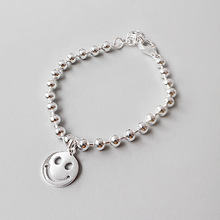 S925 sterling silver sunshine cute baby child glossy smiley face bead bracelet