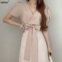 Vestido Midi fruncido de retazos con cuello en V para mujer, vestido de fiesta, color rosa, coreano, elegante