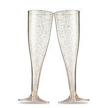 5pcs/set Champagne Flute Plastic Drink Cup Marriage Party Wine Cocktail Decor Cup Wedding Toasting Glasses New Year Feast Decor