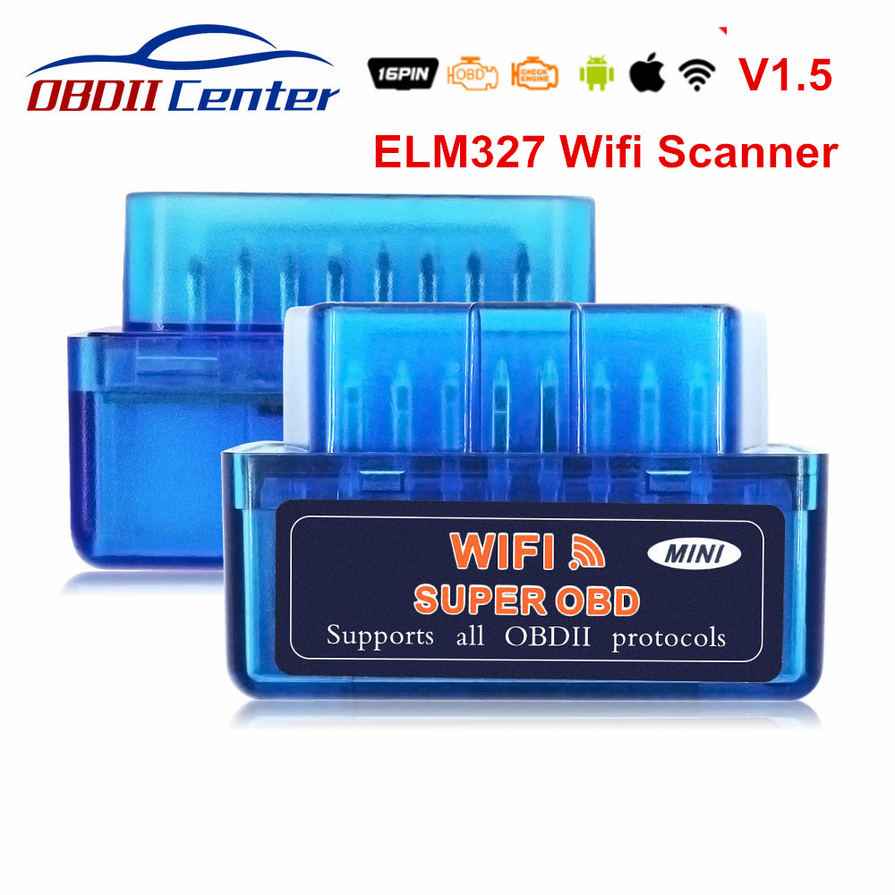 Super Mini OBD2 ELM327 Wifi 1,5 IOS ELM 327 Wi-Fi OBD 2 OBD II escáner de diagnóstico de ELM327 V1.5 WIFI OBD2 1,5 lector de código Super Mini Elm327 Bluetooth OBD2 V1.5 Elm 327 V 1,5 OBD 2 herramienta de diagnóstico del coche escáner Elm-327 OBDII adaptador herramienta de diagnóstico automático