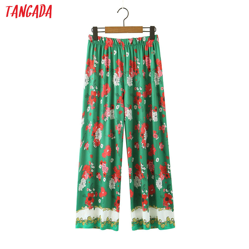 Tangada Women Green Floral Print Long Pants Trousers Vintage Style Strethy Waist Lady Pants Pantalon SL237
