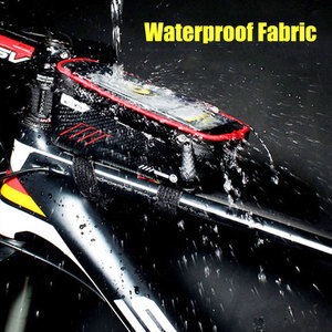 Image 4 - Sacoche imperméable pour vélo frontale de 6.2 pouces, sacoche de guidon pour téléphone portable, Tube supérieur, accessoires de cyclisme en montagne