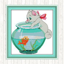 Cat Aside Fish Jar 14CT 11CT Counted Stamped DMC Cotton Thread Printed Canvas Cross Stitch Embroidery Kits DIY Needlework Crafts(China)