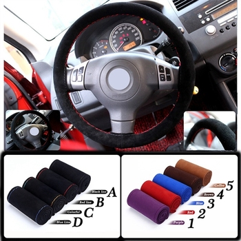 Universal38CM Universal Real Suede Braid On Steering Wheel Breathable & Odor Car Short Plush Steering-wheel Cover image