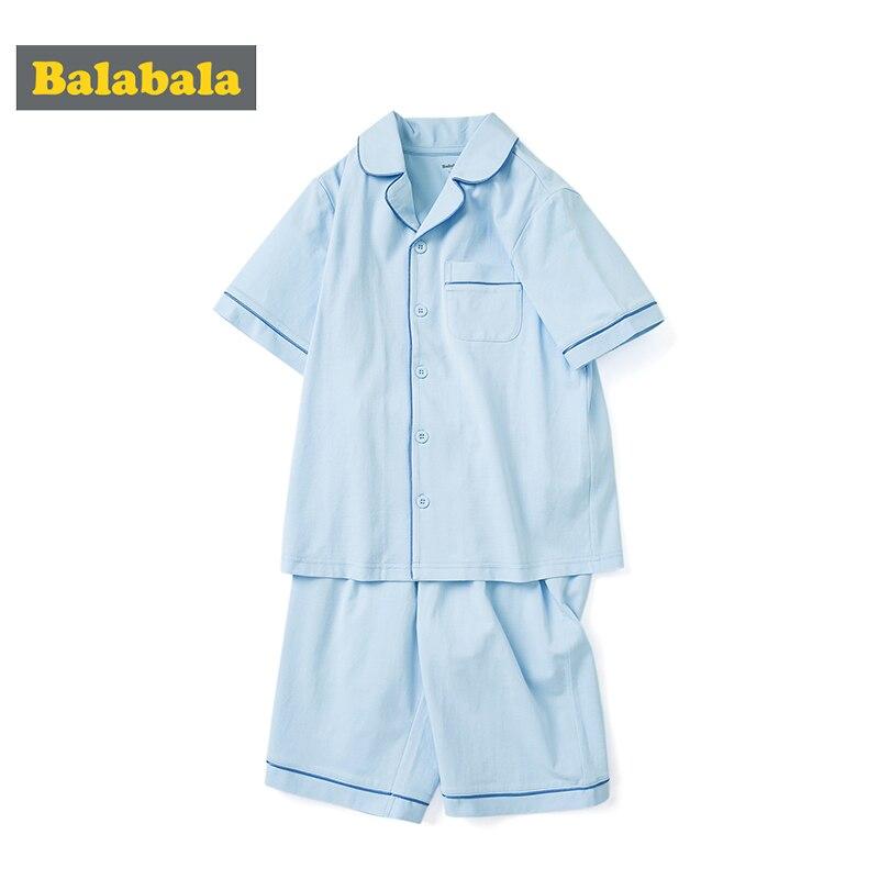 Balabala Boys Pajamas Set Light  Thin 2020 Summer New Home Children Breathable Short Sleeve Two-piece Suit