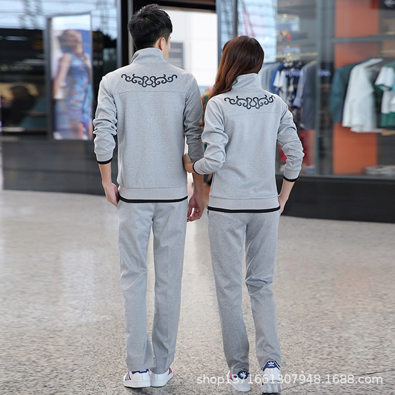 Spring And Autumn Korean-style Sports Set MEN'S Hoodie Two-Piece Autumn Casual Coat Women's Sports Clothing Running Couple Cloth