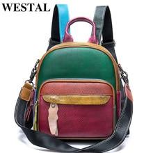 WESTAL Mochila pequeña de piel auténtica para mujer, bolso escolar para chicas adolescentes, Mini mochila de retazos, 049
