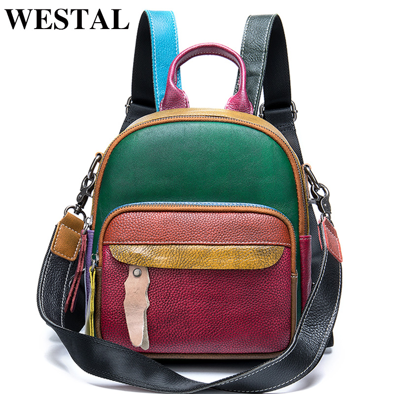 WESTAL Women's Backpack Genuine Leather School Bag For Teenager Girls Patchwork Mini Backpack Female Small School Backpacks 049