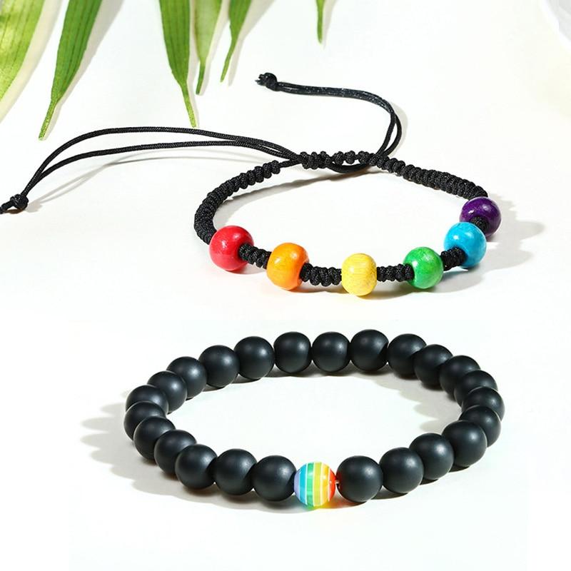 Vnox Rainbow Bracelets Set for Men Women Colored Beads Charm Adjustable Chain Bracelet LGBTQ Pride Bisexual Gay Lesbian Jewelry