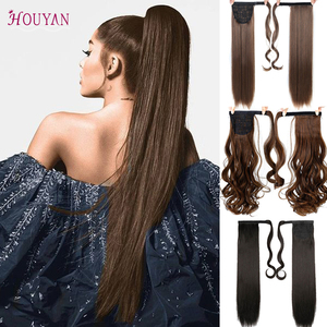 HOUYAN 24 Inch Silk Straight Synthetic Women's Hair Extension Curly Hair Ponytail Hair High Temperature Fiber Long Curly Wig(China)