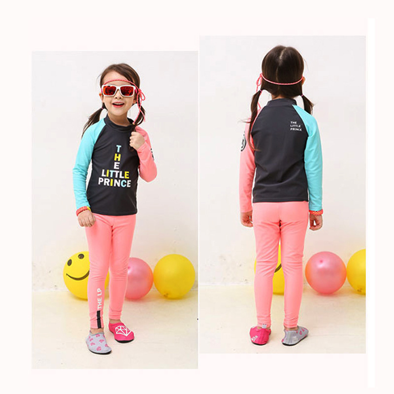 Men And Women Children Long Sleeve Swimsuit Split Type Trousers Sun-resistant Quick-Dry Diving Suit GIRL'S Students CHILDREN'S S