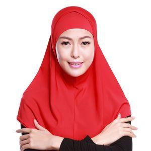 Image 5 - Женский однотонный мусульманский хиджаб Amira из 2 предметов, мягкий хлопковый эластичный головной шарф с внутренней трубкой, капюшон