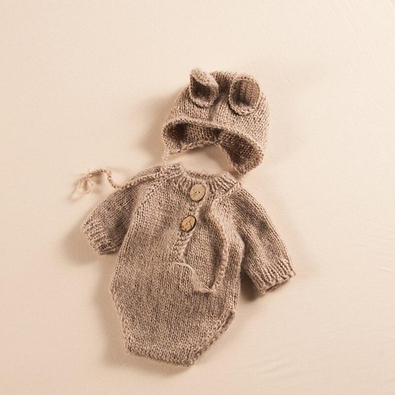 Newborn Photography Clothing Cute Baby Knit Hat+Jumpsuit Set Infant Photo Props Accessories Studio Newborn Shoot Rabbit Clothes