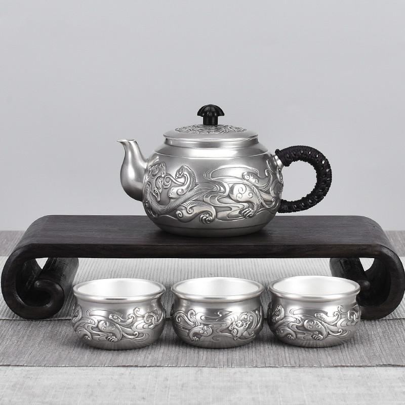 Chinese Style Dragon Pattern Sterling Silver Kung Fu Tea Set Small Tea Set Home Tea Ceremony Sterling Silver Pot Pure Tea Set