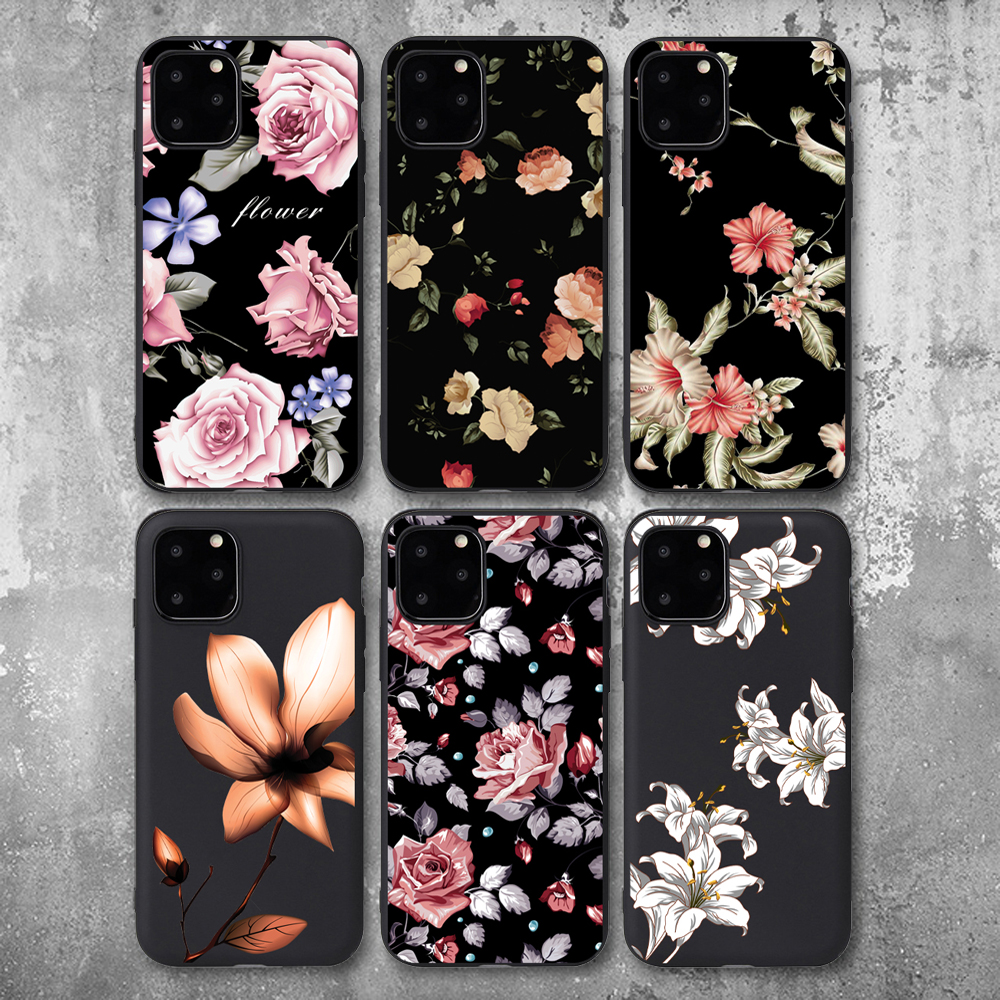 <font><b>3D</b></font> Relief Flower Exquisite <font><b>Cases</b></font> For Apple <font><b>iPhone</b></font> 8 7 Plus <font><b>X</b></font> TPU <font><b>Silicone</b></font> Soft Cover <font><b>Case</b></font> For <font><b>iPhone</b></font> 6S 5S SE XS 11Pro Max XR image