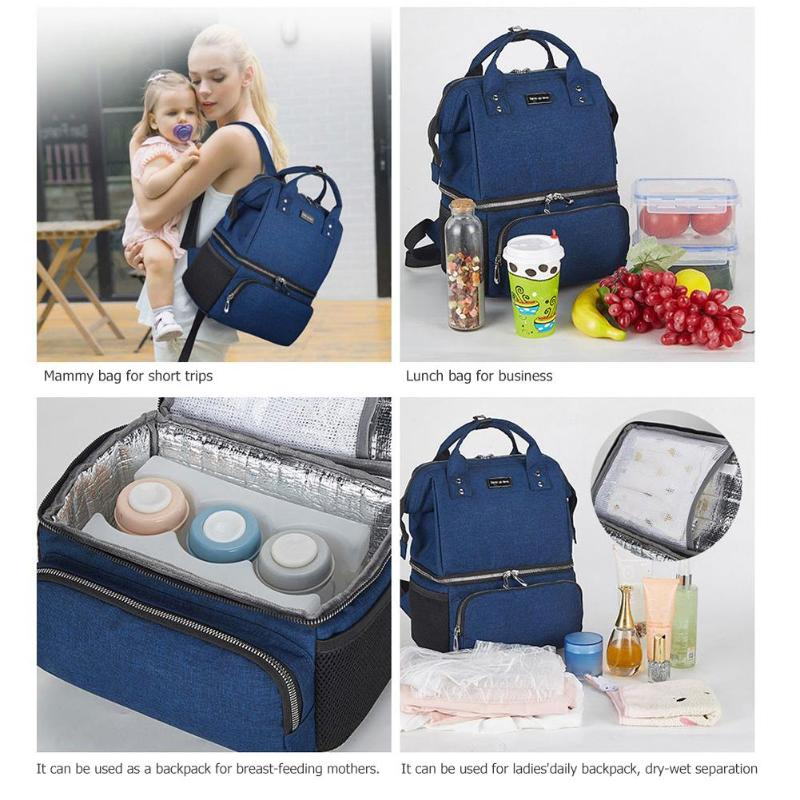 Baby Feeder Organizer Reusable Waterproof Prints Mother Storage Travel Nappy Bag Polymer Gel Blue Ice Continuous Air Emission