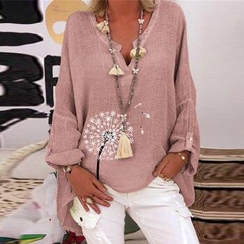 Camiseta informal de talla grande para mujer, blusa holgada de manga larga estampada con cuello de pico, Tops para mujer 2021