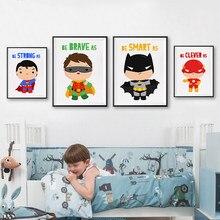 Подарок для мальчика, супергерой, Классический Постер Мультфильма фильма, холст, принты, детские настенные художественные картины, детская ...