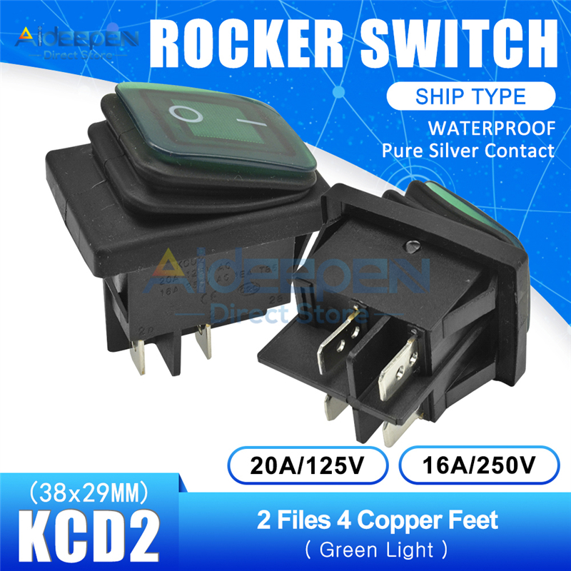 5 Pack SNOWINSPRING Bascule Robuste Interrupteur a Bascule 15A 250V 20A 125V Spst 2 Broches Interrupteur Marche//Arret Couvercle En Metal Batte etanche Capuchon De Demarrage