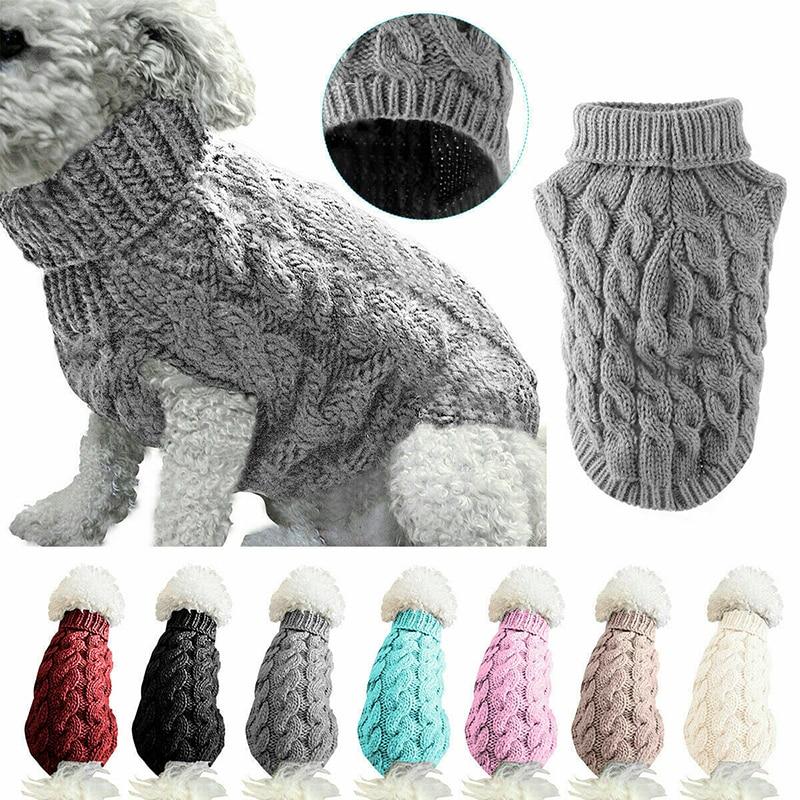 Cachorro quente gato camisola roupas inverno gola alta malha pet gato filhote de cachorro roupas traje para cães pequenos gatos chihuahua roupa colete 2