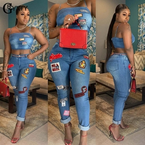 Image 3 - GBYXTY Cartoon Denim Sets Women Two Piece Set Spaghetti Strap Crop Top and Jeans Pants 2 Piece Set Club Outifts Tracksuit ZL403