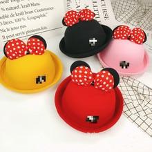 New 1pcs Mickey Minnie bow ears felt hat dome Decoration Hat Kids Birthday Theme Party