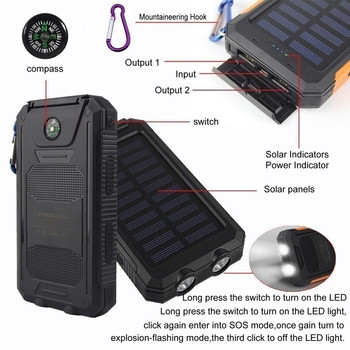 Solar Power Bank 30000mAh Panel Large-capacity Portable Phone Battery Dual USB Charger LED Lighting Outdoor Travel Charger 3