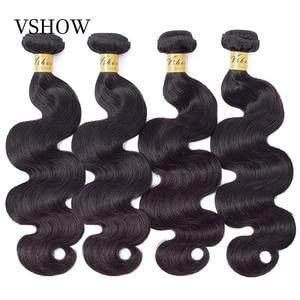 VSHOW Brazilian Body Wave Human Hair Bundles 1 3 4 Bundles Deal Natural Color 100% Remy Human Hair Extensions For Black Women(China)