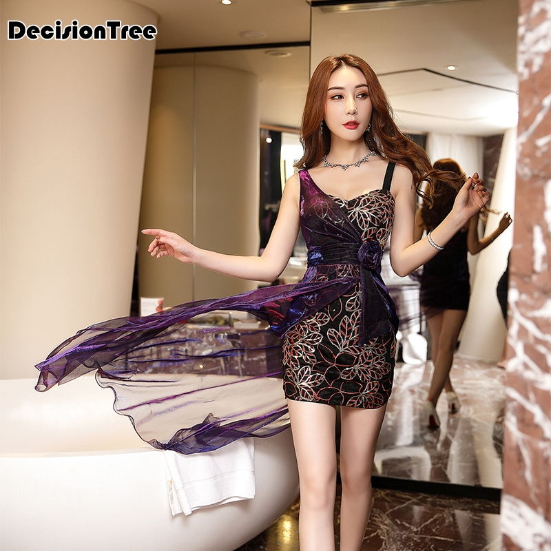 2020 Chinese Dress Ladies Dress Sexy Nightclub Lace Short Dress Bodycon Dress Woman Party Night Sequin Dress Sling Skirt