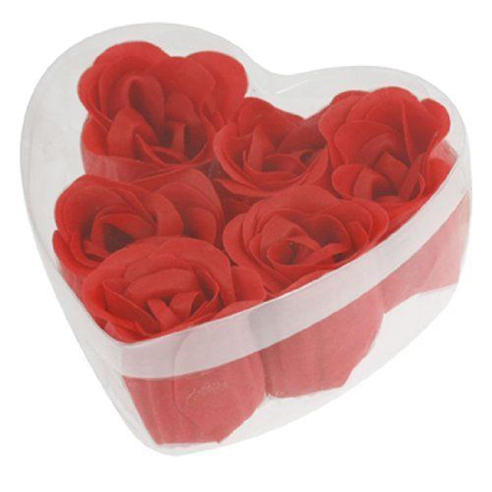 6 Pcs Creative Red Rose Petal Scented Soap Bath With Heart Shape Storage Box Transparent Heart Shape Gift Box Holding 6pcs Rose