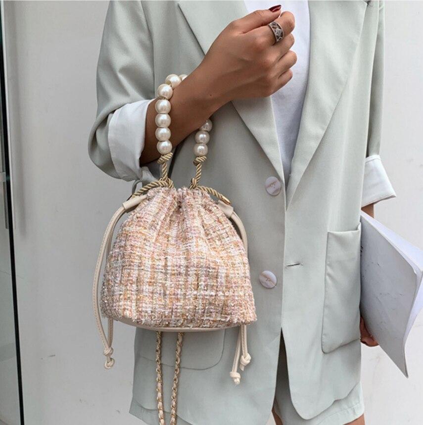 1pcs New Women Large Pearl Rope Bag Chain Strap Purse Belt Handbag Accessories