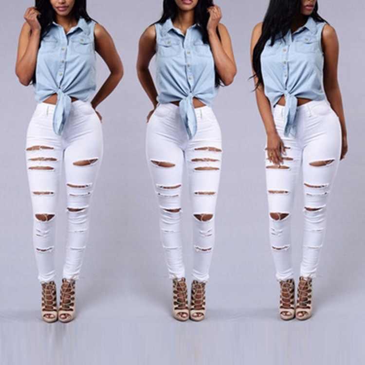2020 beliebte Sommer weiß Loch Zerrissene Jeans Frauen Jeggings Kühlen Denim Hohe Taille Dünne Bleistift Hosen Jeans Hosen