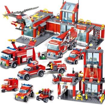 City Fire Station Building Blocks Sets Fire Engine Fighter Truck Enlighten Bricks Playmobil Toys 1