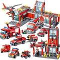 QWZ Stadt Feuer Station Bausteine Sets Feuer Motor Kämpfer Truck Erleuchten Ziegel Playmobil Spielzeug für Kinder Geschenke