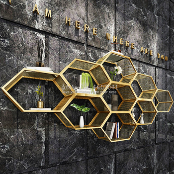 Creative Golden  Bookcase Row Closet Built-up Diy Wall Mounted Unit Wardrobe Dinning Living Room Office Hotel Display Furniture