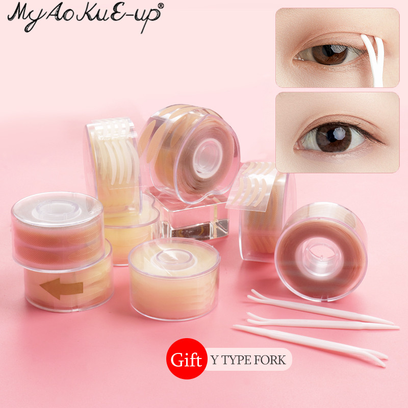600Pcs/box Big  Eyelid Tape Sticker Double Fold Self Adhesive Eyelid Tape Stickers S/L Makeup Clear Beige Invisible Tool
