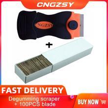 1pc tela celular remover cola faca + 100 pçs lâminas de metal desmontar limpo raspador polimento pá oca adesivo ferramentas do carro k03