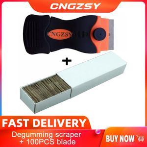Image 1 - 1pc tela celular remover cola faca + 100 pçs lâminas de metal desmontar limpo raspador polimento pá oca adesivo ferramentas do carro k03