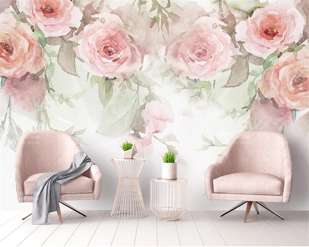Beibehang Custom Wallpaper Small Fresh Rose Flower Watercolor Hand Painted Fashion Modern Tv Background Wall 3d Wallpaper Mural