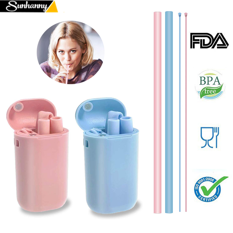 Silicone Straw Carrying-Case Foldable Collapsible Travel Home With And For Office