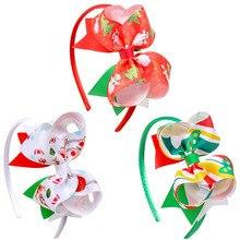 3Pcs/Set Girls Christmas Hairband Cute Santa Claus Print Headband Stacked Ribbon Headwear Xmas Gift Wholesale Hair Accessories